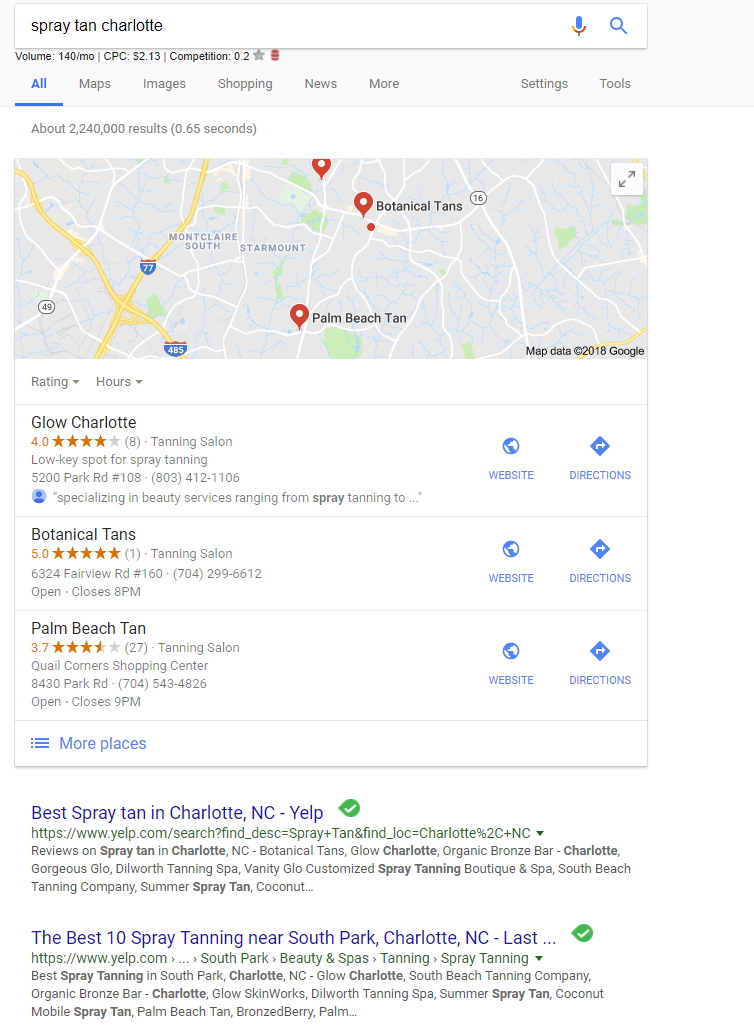Google search for a spray tan business near me