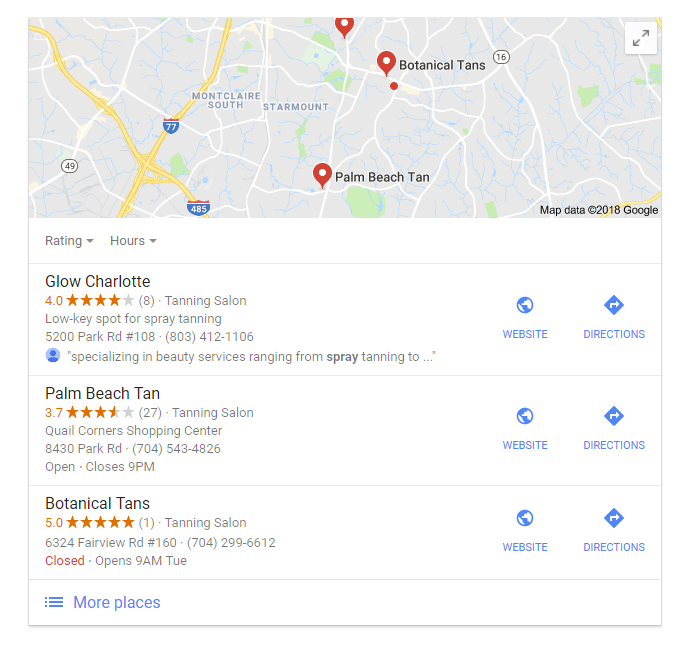Search spray tan business on Google