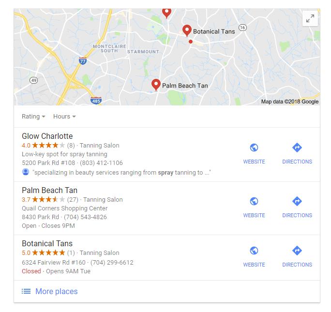 Search spray tan business on Google